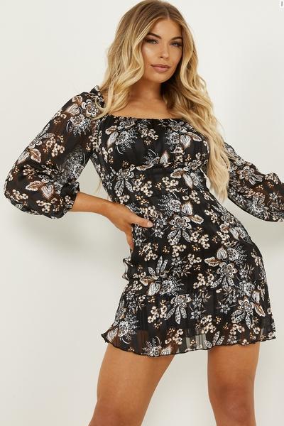 Petite Black Paisley Print Mini Dress